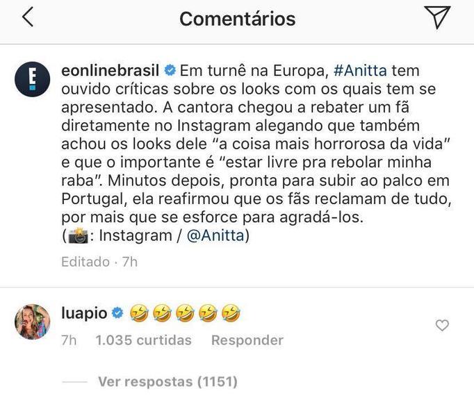 Luana Piovani debochou da cantora Anitta em notícia que criticava looks da cantora e gerou polêmica. Simaria passa a seguir a loira após rumores de desentendimento com funkeira