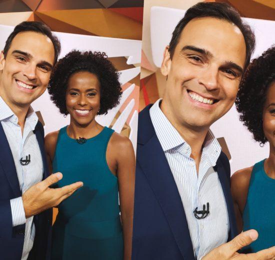 Maju Coutinho no comando do Fantástico ao lado de Tadeu Schimitd na Globo (Foto reprodução)