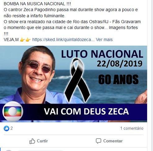 Uma fake news no Facebook fez circular informação sobre morte do cantor Zeca Pagodinho marrone (Reprodução)
