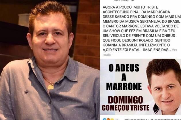 Notícia da morte de Marrone cai como uma bomba e deixa país sem acreditar (Foto: Reprodução/ Facebook)