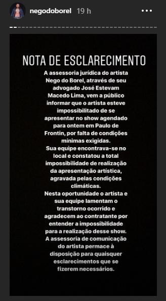 Nego do Borel esclarece situação polêmica. (Foto: Reprodução/Instagram)