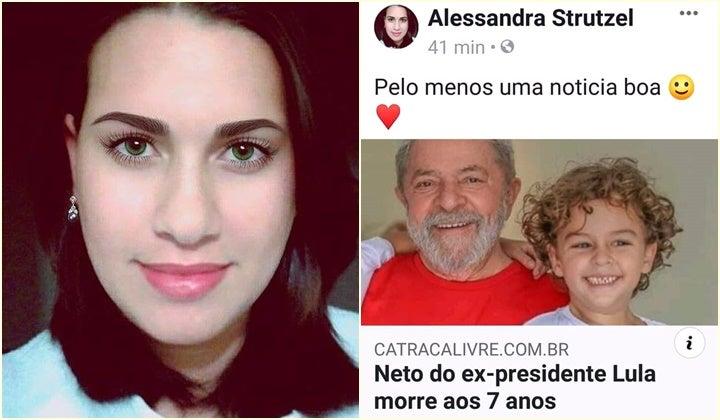 Alessandra Strutzel festejou a morte do neto do ex-presidente Lula (Foto: Reprodução)