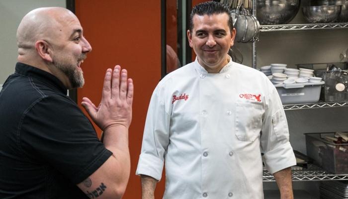 Buddy Valastro, o Cake Boss e Duff Goldman no Duelo de Confeiteiros (Foto: Divulgação/Record)