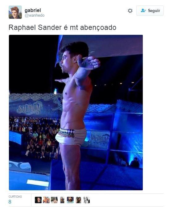 Raphael Sander durante competição de saltos ornamentais no Caldeirão do Huck, da Globo josé loreto(Reprodução)
