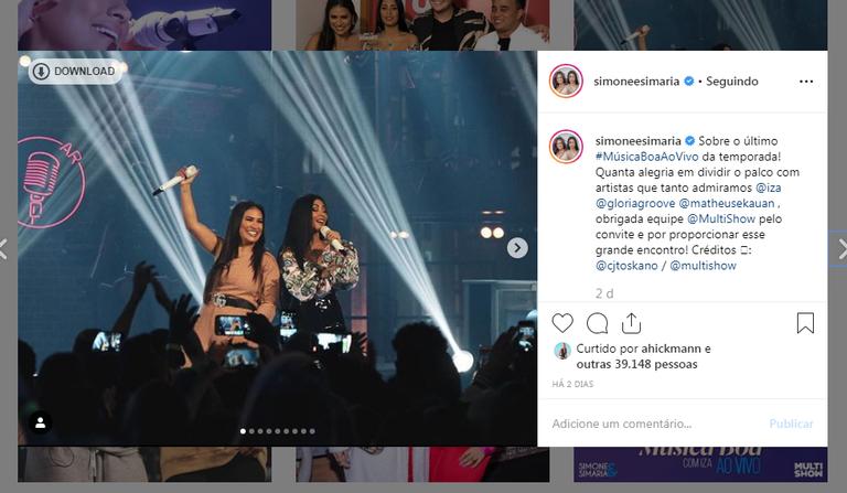 Simone e Simaria durante a apresentação do programa Música Boa do Multishow (Imagem: Instagram)
