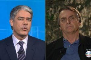 O jornalista William Bonner globo ao lado de Jair Bolsonaro (Foto: Montagem)
