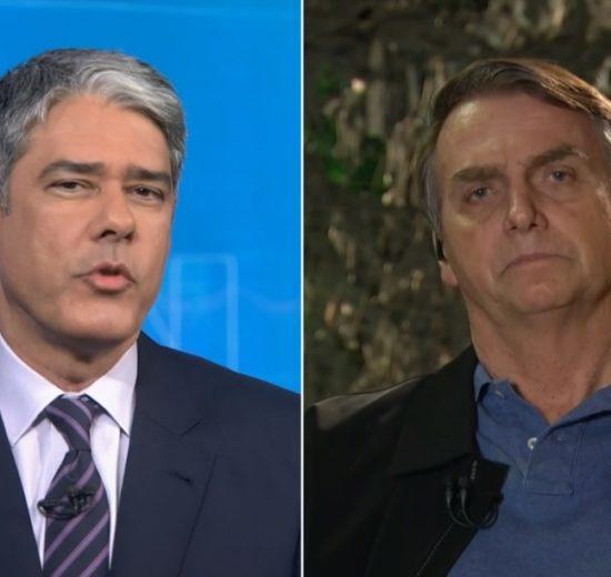 O jornalista William Bonner ao lado de Jair Bolsonaro (Foto: Montagem)