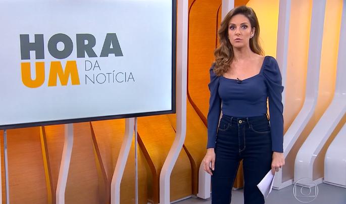 Monalisa Perrone em seu último dia no Hora Um; telejornal teve alta audiência (Foto: Reprodução/Globo)