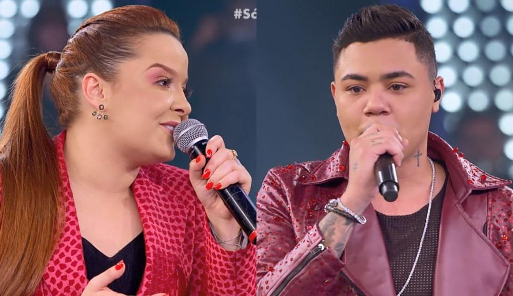 Maiara e Felipe Araújo no programa Só Toca Top (Foto: Reprodução)