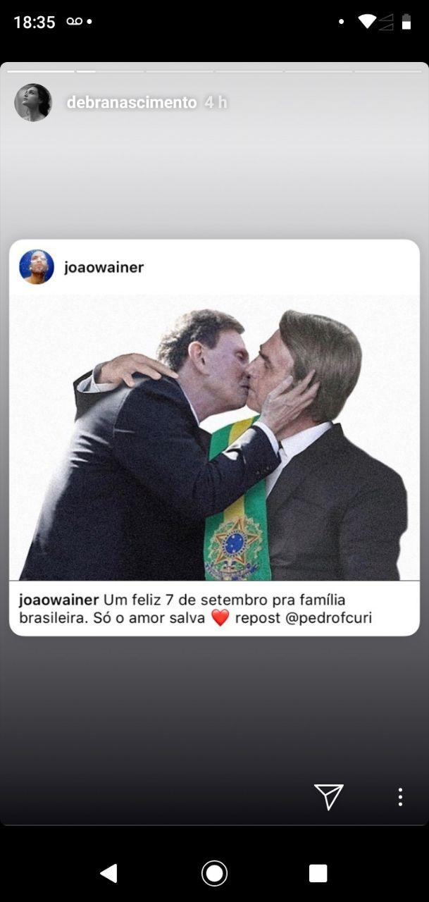 Débora Nascimento postou foto de uma montagem de um beijo gay entre Bolsonaro e Crivella
