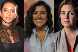 Taís Araújo (Vitória), Regina Casé (Lurdes) e Adriana Esteves (Thelma) são as protagonistas de Amor de Mãe, próxima novela das nove da Globo (Foto: Globo/Andrew Walker/Paulo Belote/Ramón Vasconcelos/Montagem TV Foco)