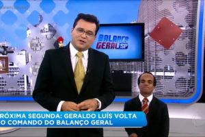 Geraldo Luís e o anão Marquinhos no cenário do Balanço Geral (Foto: Reprodução)
