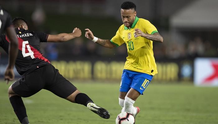 Neymar no jogo entre Brasil x Peru, que bombou a audiência da Globo na madrugada (Foto: Lucas Figueiredo/CBF)