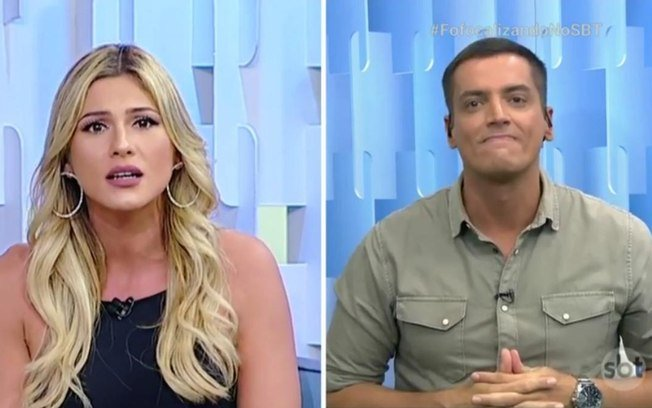 Lívia Andrade e Leo Dias durante o programa Fofocalizando (Foto: Montagem)