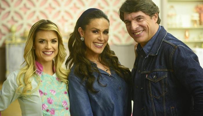 Beca Milano, Nadja Haddad e Olivier Anquier no Bake Off Brasil, que registrou alta audiência (Foto: Zé Paulo Cardeal/SBT)