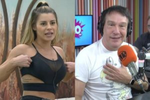 Aricia Silva em A Fazenda 11 e seu ex-patrão Emilio Surita (Montagem: TV Foco)