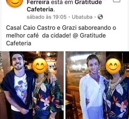 Caio Castro e Grazi Massafera em cafeteria (Foto: Reprodução)