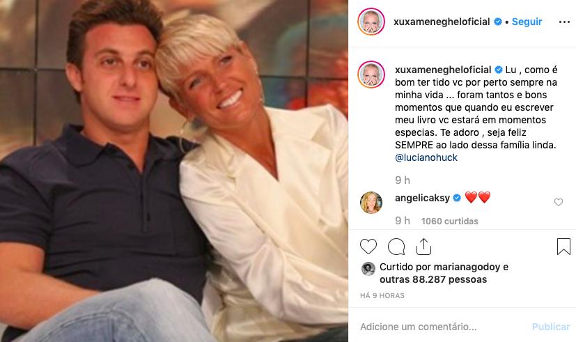 Xuxa faz homenagem de aniversário para Luciano Huck. Foto: Reprodução/Instagram