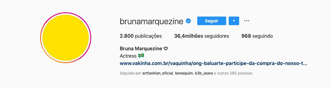 Bruna Marquezine adere campanha contra depressão e troca foto de seu perfil para a cor da luta. Foto: Reprodução/Instagram