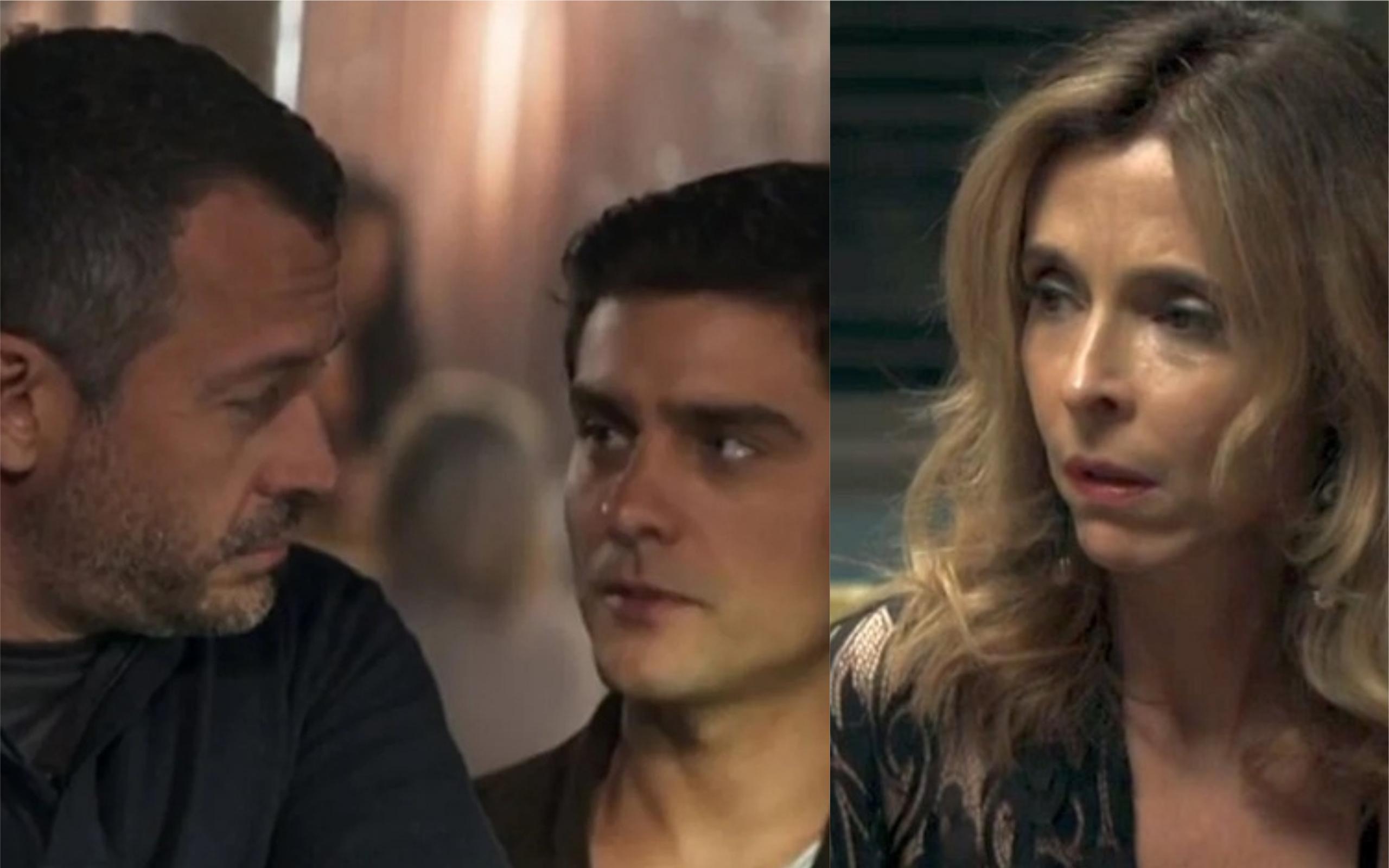Agno (Malvino Salvador), Leandro (Guilherme Leicam) e Lyris (Deborah Evelyn) em A Dona do Pedaço (Foto: Divulgação / TV Foco)