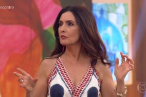 A apresentadora do Encontro com Fátima Bernardes ficar espantada com jornalista da Globo (Foto: reprodução Globoplay)