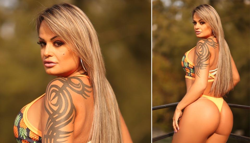 line já fez fotos muito ousadas para ganhar votos no concurso Miss Bumbum. Alguns fãs apontam que Uva é parecida com Andressa Urach. Você concorda?