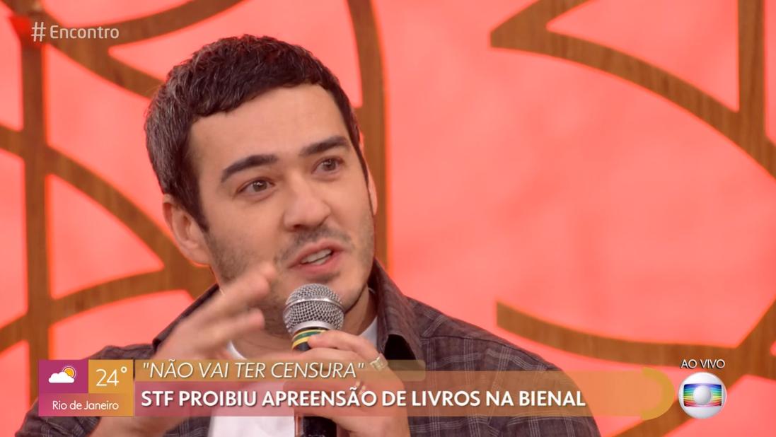 O humorista da Globo, Marcos Veras faz declaração polêmica no Encontro com Fátima Bernardes, William Bonner (Foto: Reprodução Globoplay)