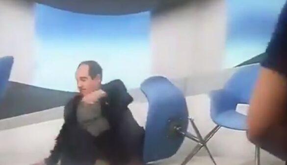 Muricy Ramalho caiu com a bunda no chão no programa Bem, Amigos (Foto: Reprodução/SporTV)