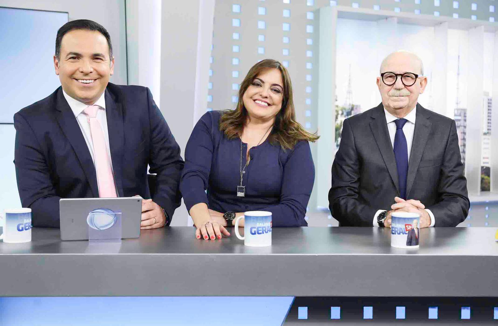 """Fabíola Reipert, Reinaldo Gottino e Renato Lombardi no """"Hora da Venenosa"""" (Foto: Divulgação/Record)"""