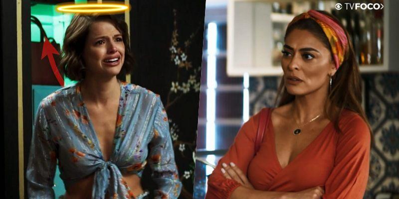 Na colagem de fotos feita pelo TV Foco, Jô com auréola de anjo encara Maria da Paz e personagens de A Dona do Pedaço