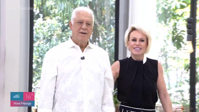 Antonio Fagundes esteve no Mais Você e Ana Maria Braga se preveniu para não reviver mico com Taís Araújo (Foto: Reprodução/Globo)