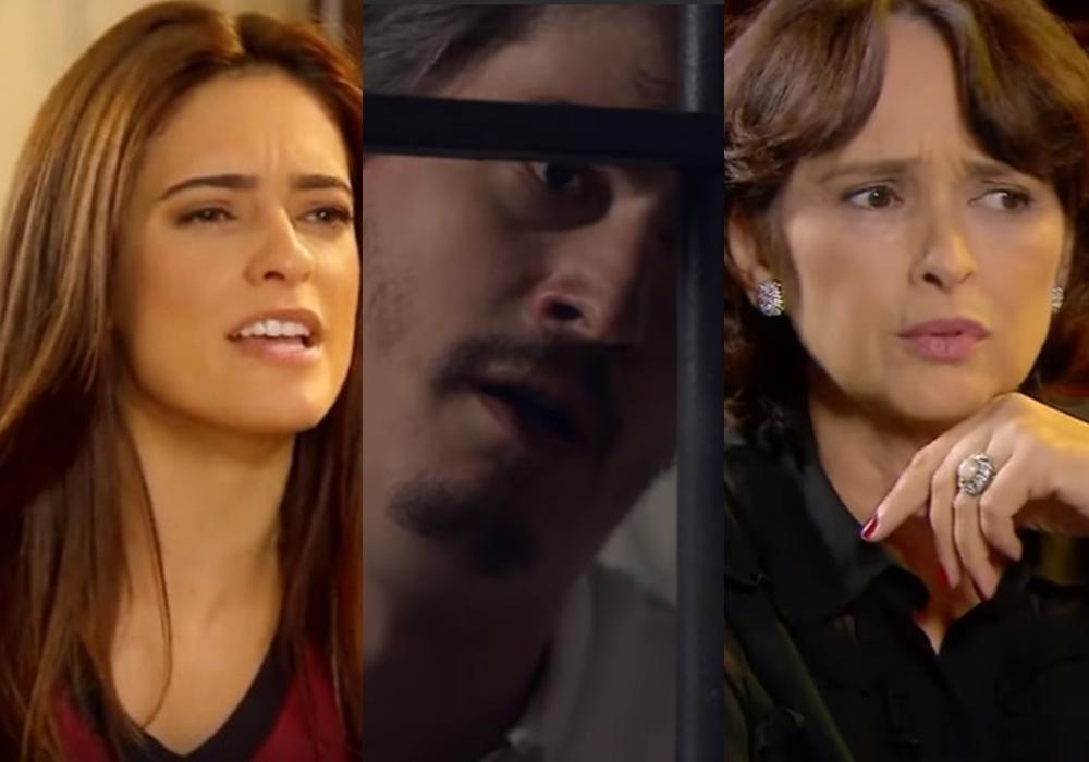 Débora (lisandra Cortez), Rato (Pedro Lemos) e Ruth (Myrian Rios) estão em destaque na novela As Aventuras de Poliana, do SBT. (Foto: Reprodução/Montagem)