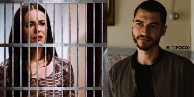 Em montagem feita pelo site TV Foco, a personagem Vivi de A Dona do Pedaço aparece atrás de grade e Camilo sorri satisfeito