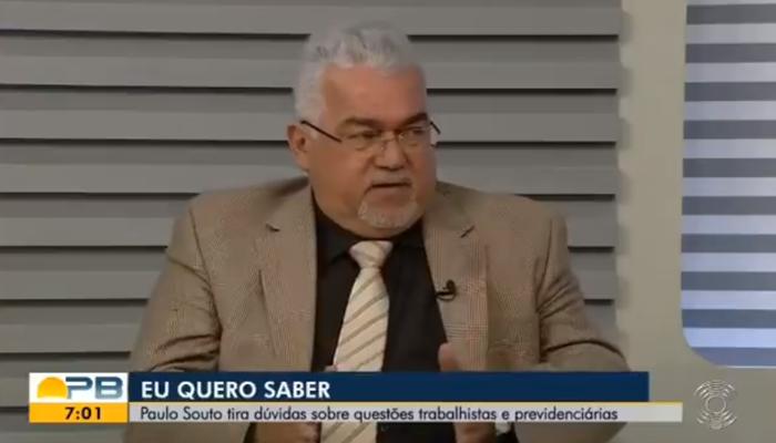 Paulo Souto anunciou sua demissão ao vivo durante o telejornal Bom Dia Paraíba (Foto: Reprodução/TV Cabo Branco/Globo)