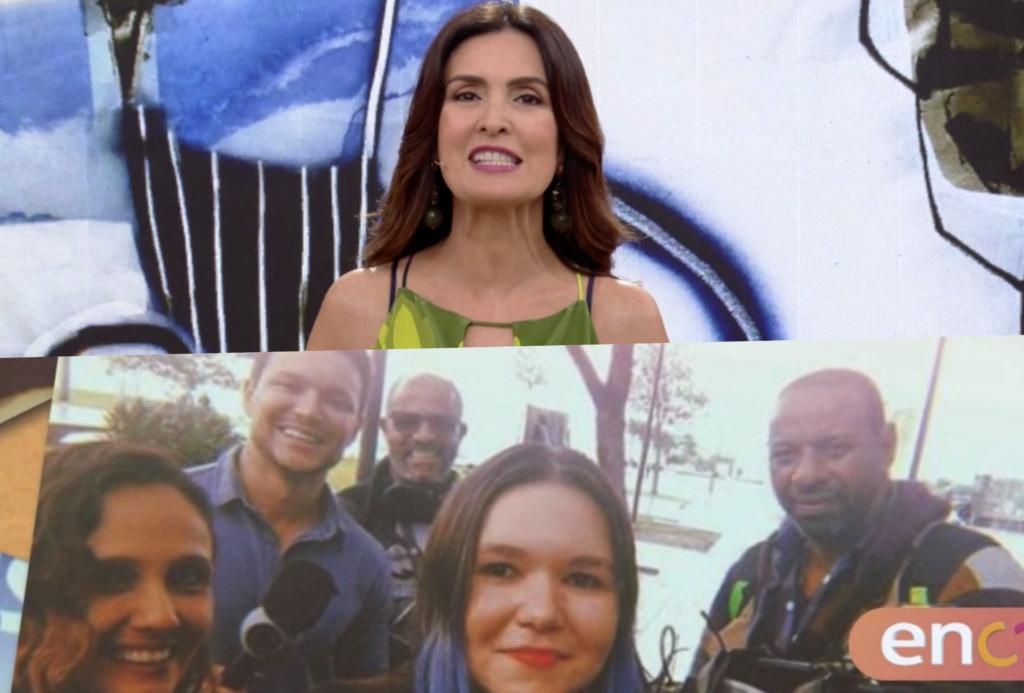 Durante chamada do Encontro com Fátima Bernades na Globo, a Record acabou aparecendo (Foto reprodução)