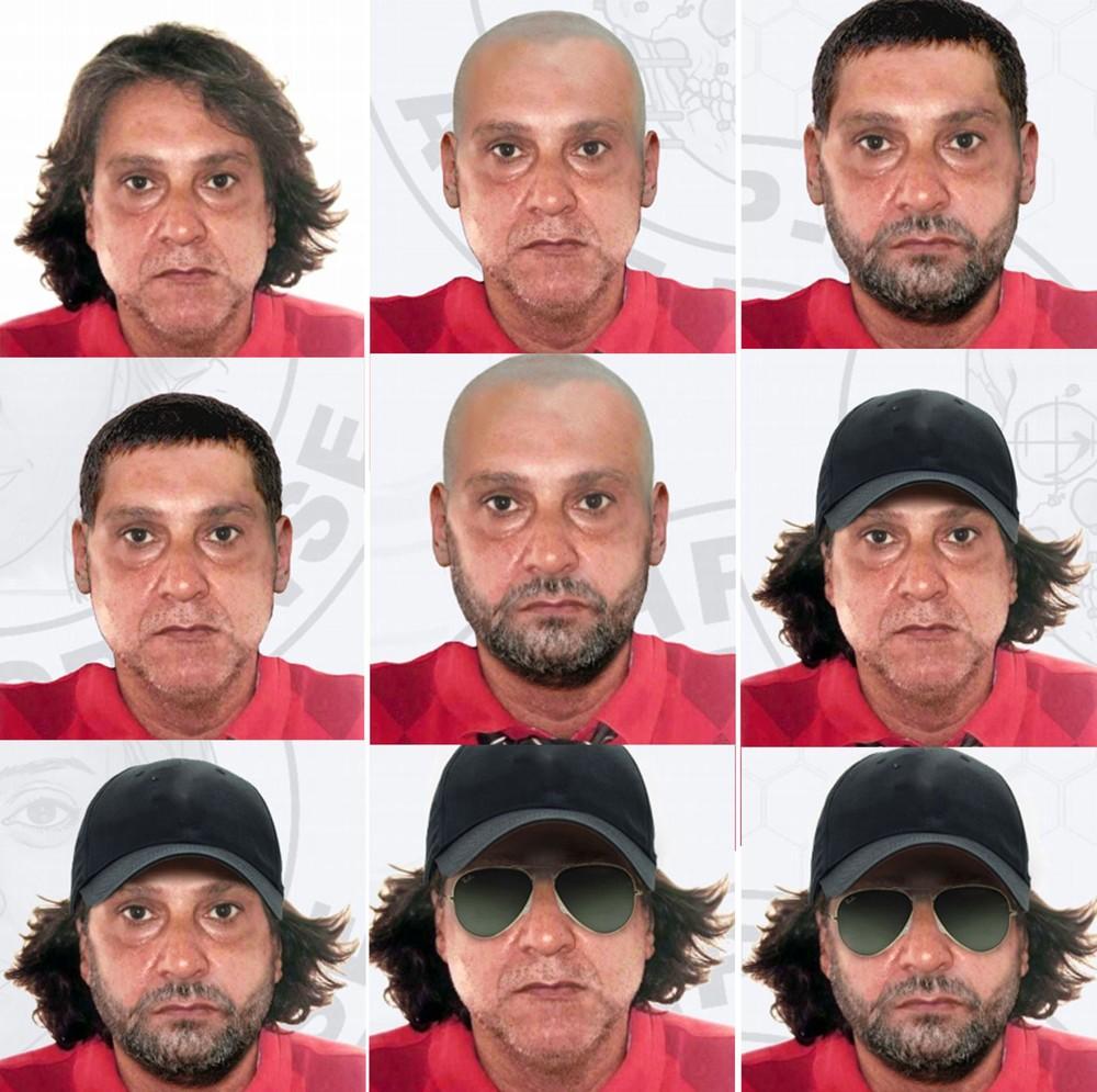 Polícia fez simulação de possíveis disfarces usados por Paulo Cupertino para fugir após matar ator e os pais dele (Foto: Divulgação/Polícia Civil)