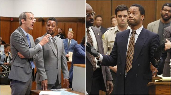 Cuba Gooding Jr no tribunal e em cena da série American Crime Story. (Foto: Montagem/Divulgação)