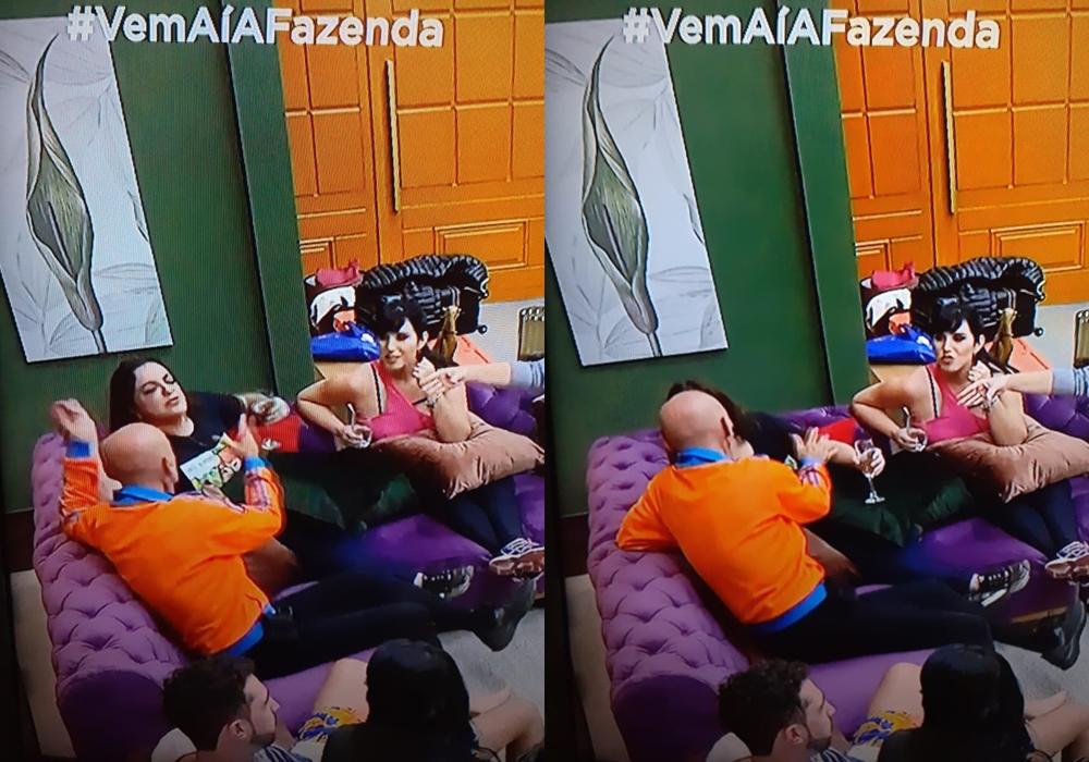 Fabíola Reipert deu beijo na boca de Amin Khader durante especial do reality show A Fazenda. (Foto: Reprodução)