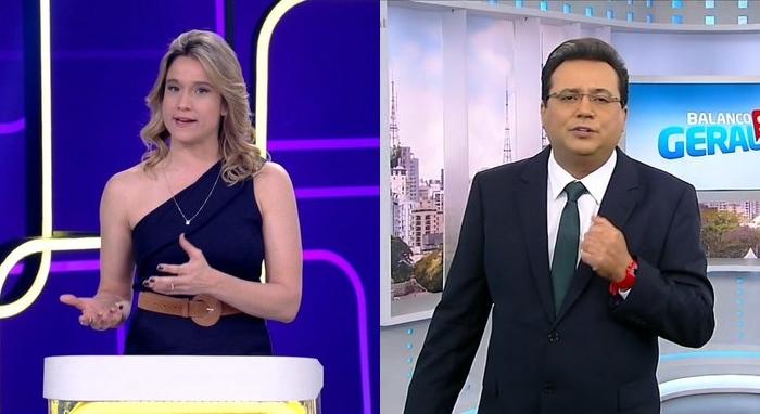 Fernanda Gentil na estreia do Se Joga e Geraldo Luís em seu retorno ao Balanço Geral SP; Record levou a melhor na audiência (Foto: Reprodução/Globo e Record/Montagem)