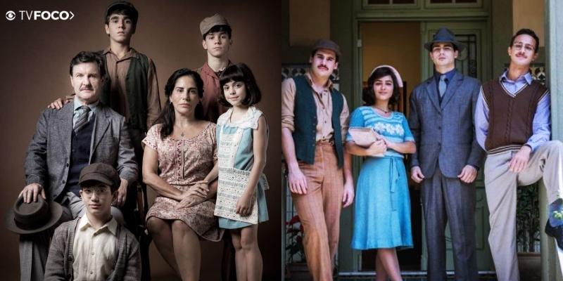 Todos os filhos do casal Julio e Lola de Éramos Seis em suas duas fases Da Globo (Foto: Montagem/TV Foco)