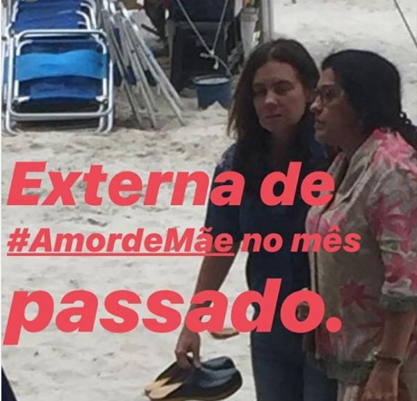 Regina Casé e Adriana Esteves em gravações externas para Amor de Mãe, da Globo. Foto: Reprodução/Sagitadriana)
