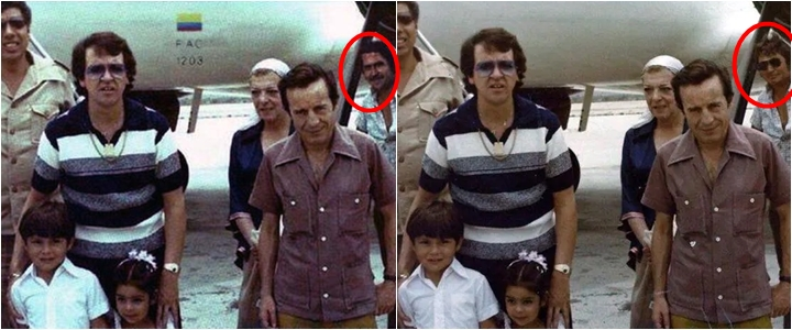 Foto do elenco de Chaves junto com Pablo Escobar é falsa. (Foto: Montagem/Reprodução)
