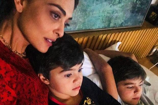 Juliana Paes com os filhos, Antonio e Pedro (Foto: Reprodução/Instagram)
