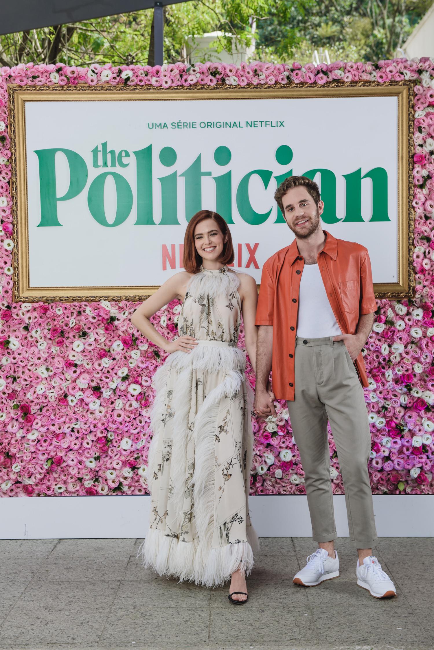 Ben Platt e Zoey Deutch na coletiva de imprensa de The Politician, da Netflix, no Palácio Tangará, em São Paulo (Foto: Divulgação/Helena Yoshioka)