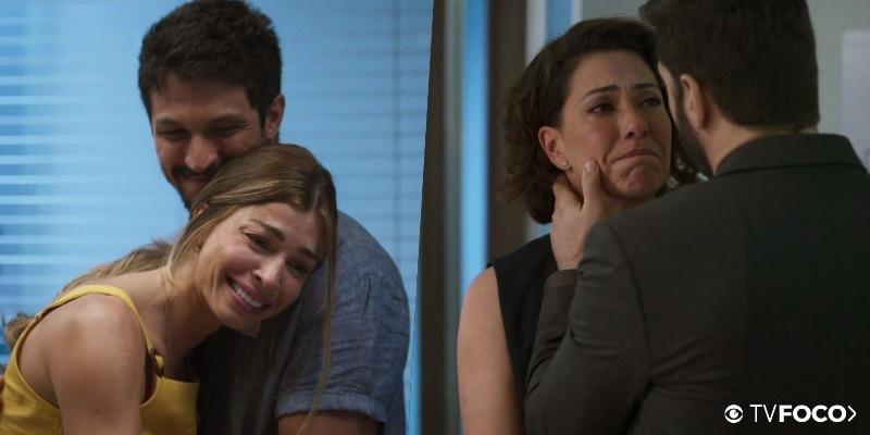 Em fotomontagem feita pelo site TV Foco, a atriz Grazi Massafera abraça Romulo Estrela enquanto em paralelo Fabiula Nascimento surge em expressão triste em cena de Bom Sucesso