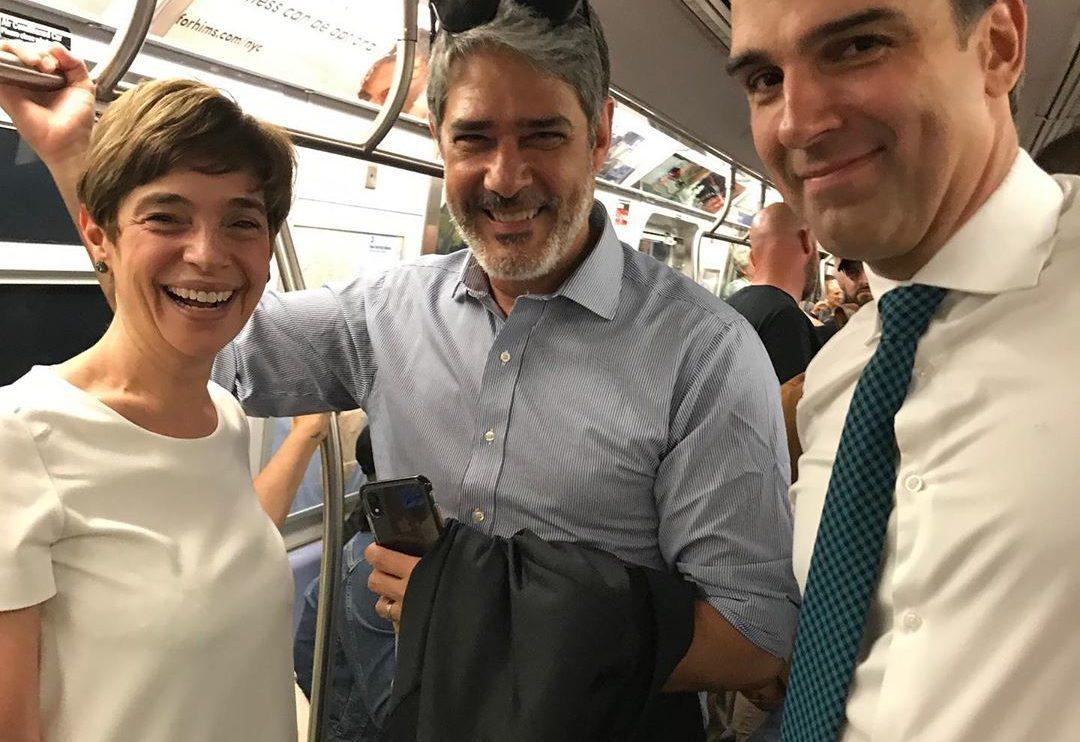 Renata Lo Prete, William Bonner e Tadeu Schmidt pegaram metrô em NY (Reprodução/Instagram)