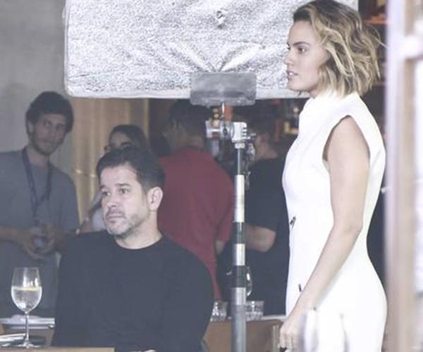 Murilo Benício e Letícia Lima em gravação da novela Amor de Mãe (Foto: Extra)