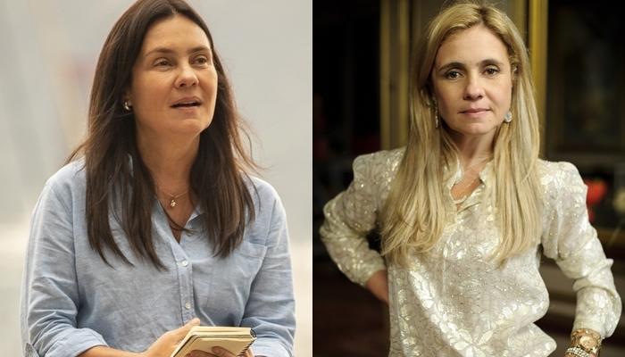 Adriana Esteves como Thelma em Amor de Mãe e Carminha em Avenida Brasil (Foto: Globo/João Cotta/Alex Carvalho)