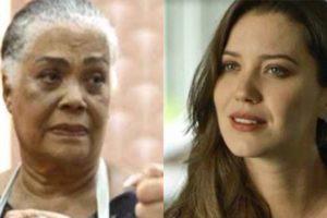 Fabiana de A Dona do Pedaço é chantageada por Dona Céu, participante que sabotou Maria da Paz (Montagem: TV Foco)