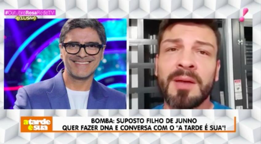 Junno Andrade e seu suposto filho, Eduardo Tadeu Matos de Oliveira (Foto: Reprodução/RedeTV!)